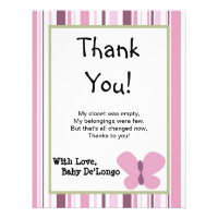 4x5 FLAT Thank You Card Sugar Plum Personalized Invite