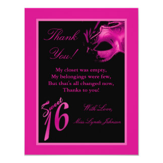 4x5 FLAT Thank you Card Sweet 16 Pink Black Party