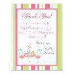 4x5 FLAT Thank you Card Tea Party Pink Pastel Flow