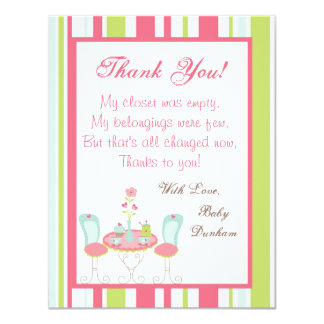 """4x5 FLAT Thank you Card Tea Party Pink Pastel Flow 4.25"""" X 5.5"""" Invitation Card"""