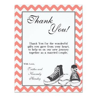 4x5 FLAT Thank You Card Teenage Sneakers Chevron