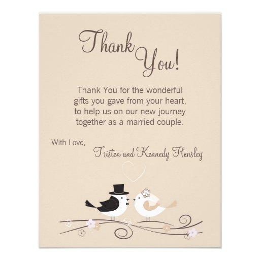 4x5 FLAT Thank You Card Wedding Birds Bride Groom 4.25