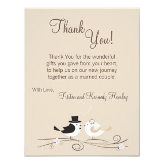 4x5 FLAT Thank You Card Wedding Birds Bride Groom