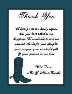 4x5 Flat Thank You Card Western Blue Cowboys Boots