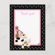 4x5 Pink Farm Baby Moo Cow Matte Flat Thank you
