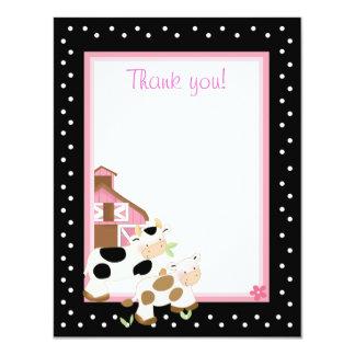 4x5 Pink Farm Baby Moo Cow Matte Flat Thank you Card