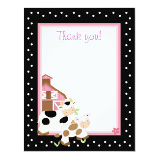 4x5 Pink Farm Baby Moo Cow Matte Flat Thank you 4.25x5.5 Paper Invitation Card