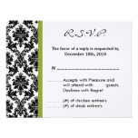 4x5 R.S.V.P. Reply Card - Black Damask Green RSVP Invitations