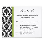 4x5 R.S.V.P. Reply Card - Black Damask Green RSVP Invitations