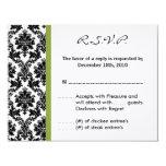 4x5 R.S.V.P. Reply Card - Black Damask Green RSVP Custom Invites