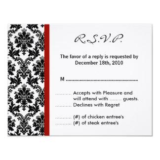 4x5 R.S.V.P. Reply Card - Black Damask Red Crimson Custom Invites