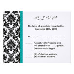 4x5 R.S.V.P. Reply Card - Black Damask Teal RSVP Announcements