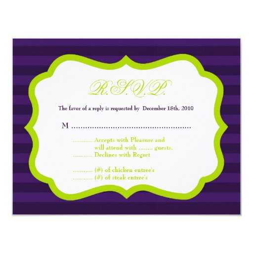 4x5 R.S.V.P. Reply Card Lime Green & Purple Stripe