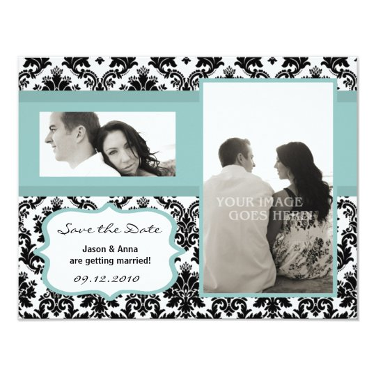 4x5 Save the Date Card Black Damask Blue
