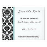 4x5 Save the Date Card - Black Damask Blue Personalized Invite