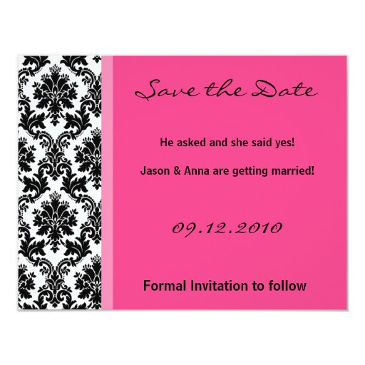 4x5 Save the Date Card - Black Damask & Hot Pink