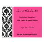 4x5 Save the Date Card - Black Damask & Hot Pink Invitations