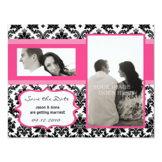 4x5 Save the Date Card - Black Damask & Hot Pink Invites