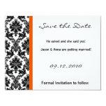 4x5 Save the Date Card - Black Damask & Orange Personalized Invite