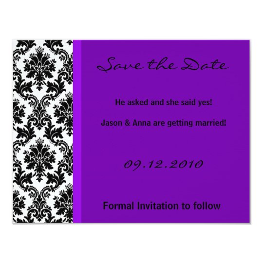 4x5 Save the Date Card - Black Damask & Purple