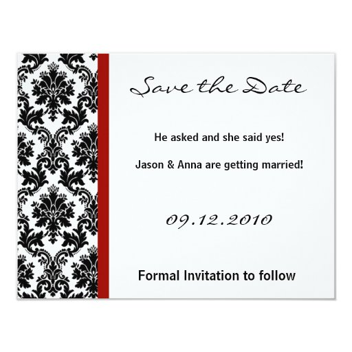 4x5 Save the Date Card - Black Damask & Red Crimso
