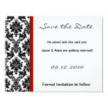4x5 Save the Date Card - Black Damask & Red Crimso Personalized Invitations