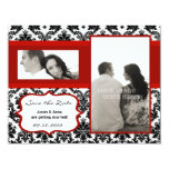 4x5 Save the Date Card - Black Damask & Red Crimso Personalized Invites