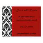 4x5 Save the Date Card - Black Damask & Red Crimso Announcement