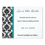 4x5 Save the Date Card - Black Damask & Teal Turqu Personalized Invitations