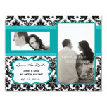 4x5 Save the Date Card - Black Damask & Teal Turqu Personalized Announcement