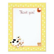 4x5 Yellow Farm Baby Moo Cow Matte Flat Thank you Card