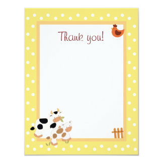 4x5 Yellow Farm Baby Moo Cow Matte Flat Thank you Card