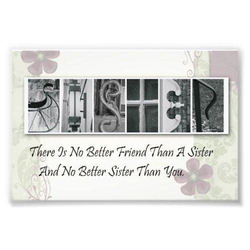 4x6 Alphabet Photo Letter Sister Frameable Print photoenlargement