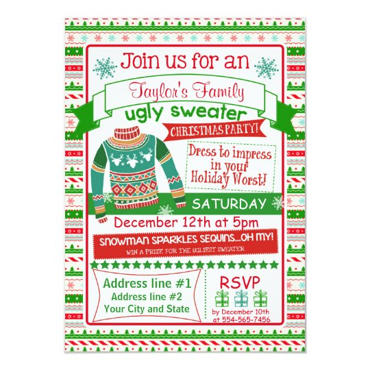 x christmas party invitation card ugly sweater  zazzle, invitation samples