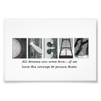 4x6 Dream Alphabet Photography Letters Photo Print
