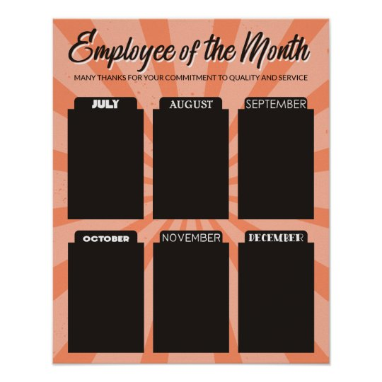 4x6 photo board employee of the month poster zazzle com
