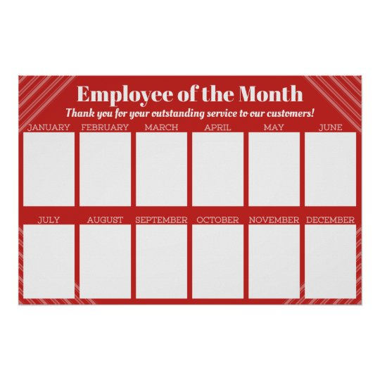 4X6 Photos Board Employee Of The Month Poster