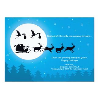 4x6 TWINS Christmas Pregnancy Announcement- Town 4.5x6.25 Paper Invitation Card