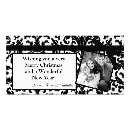 4x8 Black Damask Ribbon Frame PHOTO Christmas Card