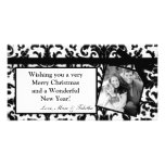 4x8 Black Damask Ribbon Frame PHOTO Christmas Card Picture Card