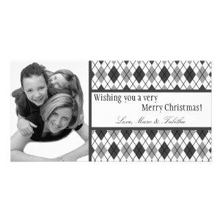 4x8 Black White Argyle Frame PHOTO Christmas Card