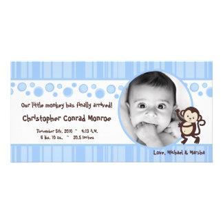 4x8 Blue Boy Pop Monkey Photo Birth Announcement