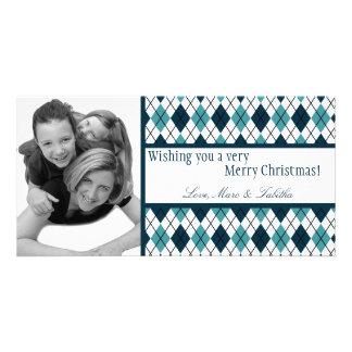 4x8 Blue White Argyle Frame PHOTO Christmas Card