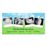 4x8 Clothes Line Portrait PHOTO Birth Announcement Photo Card