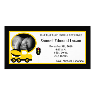 4x8 Construction Photo Birth Announcement Photo Card Template