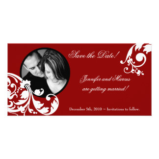4x8 Crimson Red Floral Engagement Announcement