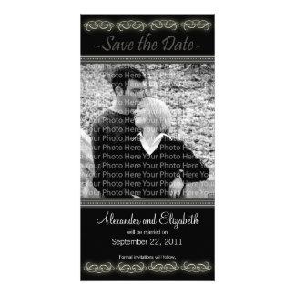 "4x8"" Elegant Black Save the Date Announcement Photo Card"