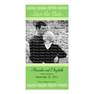 """4x8"""" Elegant Green Save the Date Announcement"""