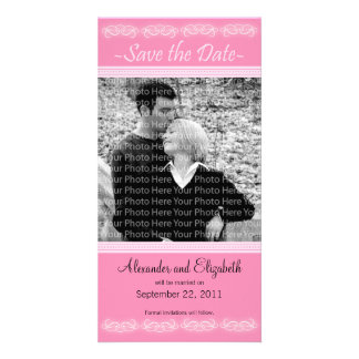 """4x8"""" Elegant Pink Save the Date Announcement Photo Card"""