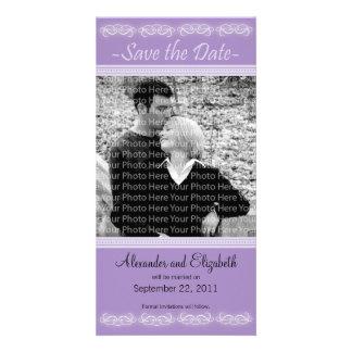 "4x8"" Elegant Purple Save the Date Announcement Photo Card"